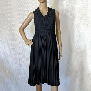 Ann Taylor pleated dress with lace trim